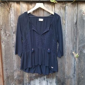 Boho top with lace navy by HOLLISTER